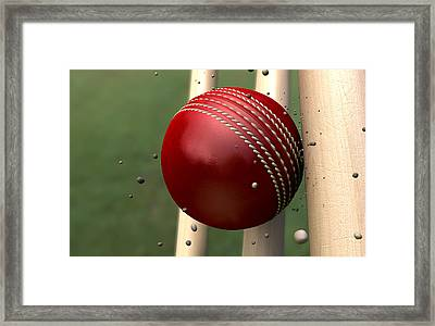 Ball Striking Wickets Framed Print