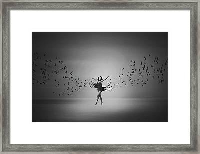 Ballerina Flight Of Birds Framed Print