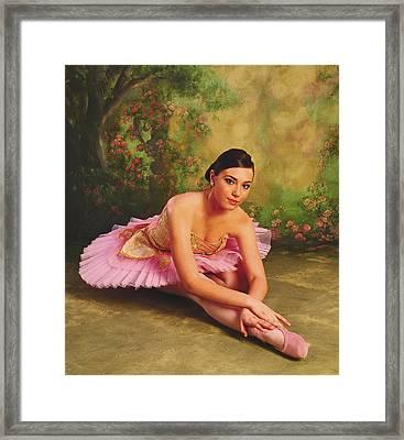 Ballerina In The Rose Garden Framed Print