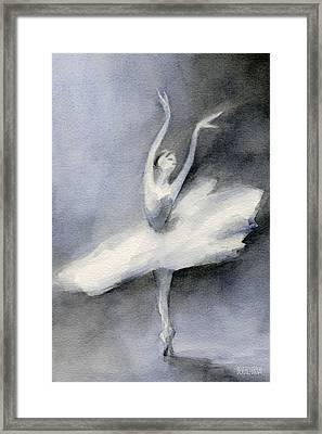Ballerina In White Tutu Watercolor Painting Framed Print