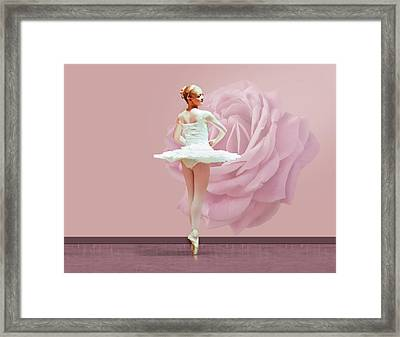 Ballerina In White With Pink Rose  Framed Print