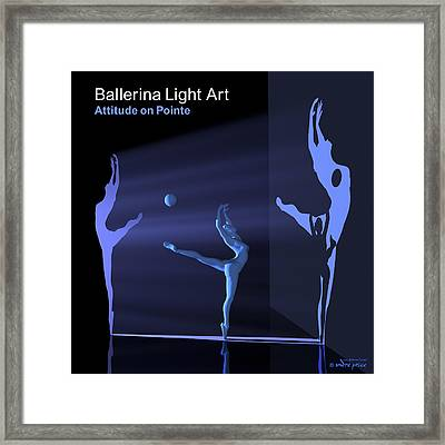 Ballerina Light Art - Blue Framed Print by Andre Price