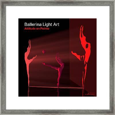 Ballerina Light Art - Red Framed Print by Andre Price