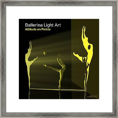 Ballerina Light Art - Yellow Framed Print by Andre Price