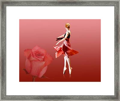 Ballerina On Pointe With Red Rose  Framed Print