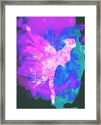 Ballerina On Stage Watercolor 1 Framed Print by Naxart Studio