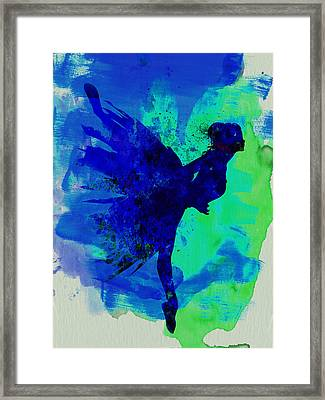 Ballerina On Stage Watercolor 2 Framed Print by Naxart Studio