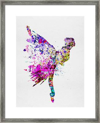 Ballerina On Stage Watercolor 3 Framed Print by Naxart Studio