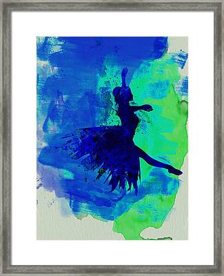 Ballerina On Stage Watercolor 5 Framed Print by Naxart Studio