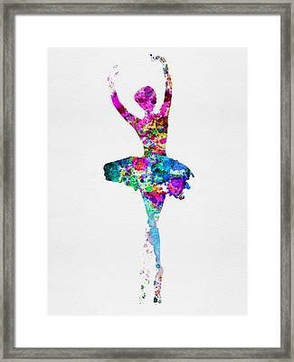 Ballerina Watercolor 1 Framed Print by Naxart Studio