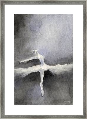 Ballet Dancer In White Tutu Watercolor Paintings Of Dance Framed Print by Beverly Brown