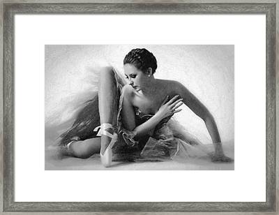 Ballet Dancer Sitting Black And White Framed Print by Tony Rubino