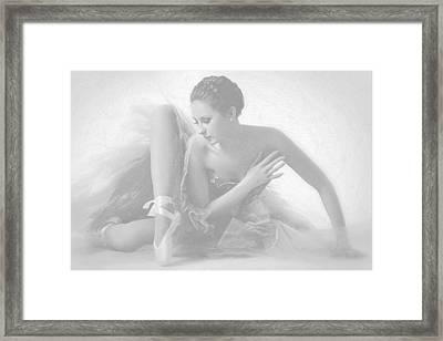 Ballet Dancer Sitting White On White Framed Print by Tony Rubino
