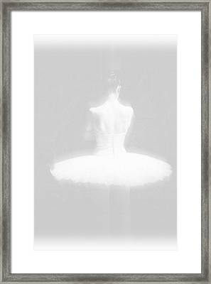 Ballet Dancer Standing White On White Framed Print by Tony Rubino