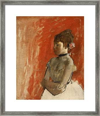 Ballet Dancer With Arms Crossed Framed Print by Edgar Degas