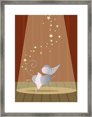 Ballet Mouse Nursery Art Girl Framed Print