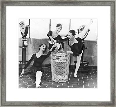 Ballet On Top Of Empire State Framed Print by Herman Hiller