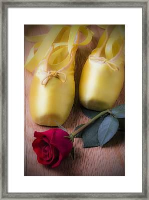 Ballet Shoes With Red Rose Framed Print by Garry Gay