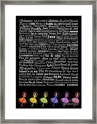 Ballet Terms And Ballerinas 1 Framed Print