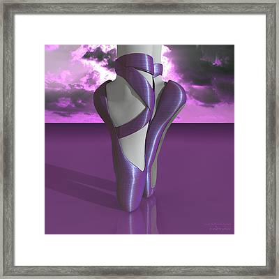 Ballet Toe Shoes Over Colorful Lavender Clouds Framed Print by Andre Price
