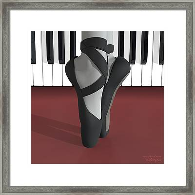 Ballet Toe Shoes Over Royal Red And Piano Keys Framed Print by Andre Price