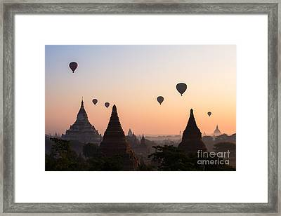 Ballons Over The Temples Of Bagan At Sunrise - Myanmar Framed Print