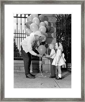 Balloon Man And Children, C.1960s Framed Print