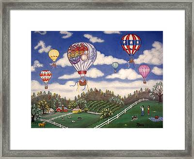 Ballooning Over The Country Framed Print by Linda Mears