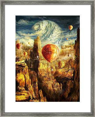 Ballooning Through The Cosmic Chasm Framed Print by Ernest Tang