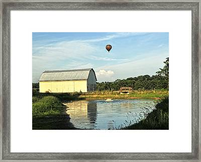 Balloons And Barns Framed Print