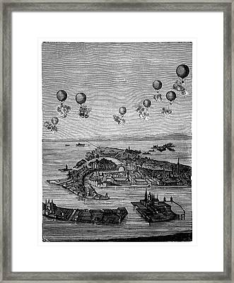 Balloons Bombing Venice Framed Print by Science Photo Library