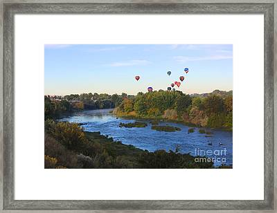 Balloons Cruising Over Prosser With River And Mount Adams Framed Print by Carol Groenen