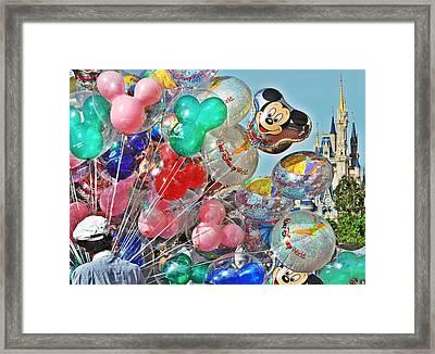 Balloons Down Main Street Framed Print by Rachael M