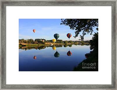 Balloons Heading East Framed Print by Carol Groenen