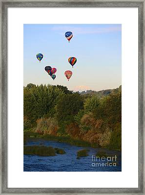 Balloons Mountain And River Framed Print by Carol Groenen