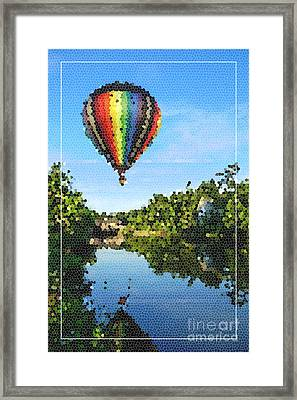 Balloons Over Quechee Vermont Stain Glass Framed Print by Edward Fielding