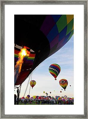 Balloons Preparing To Leave Framed Print