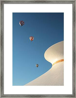 Balloons Race Over The Planetarium Framed Print