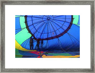 Balloons Setting Up For The Mass Framed Print by Maresa Pryor