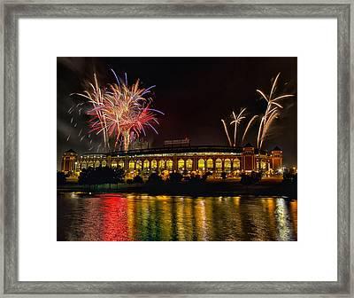 Ballpark Fireworks Framed Print