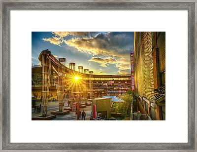 Ballpark Sunset At Target Field Framed Print by Mark Goodman