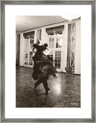Ballroom Dancers Lift - Sepia Photograph Framed Print by Beverly Brown