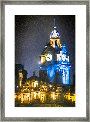 Balmoral Clock Tower On Princes Street In Edinburgh Framed Print by Mark E Tisdale