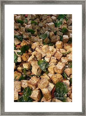 Balsamic Roasted Tofu And Spinach Framed Print by Emmy Marie Vickers
