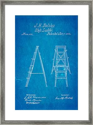 Balsley Step Ladder Patent Art 1862 Blueprint Framed Print by Ian Monk