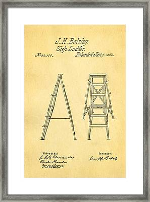 Balsley Step Ladder Patent Art 1862 Framed Print by Ian Monk