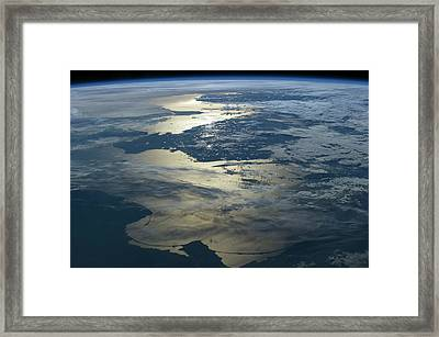 Baltic Sea Seen From The Iss Framed Print by Nasa