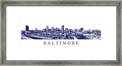 Baltimore Blueprint Framed Print by Olivier Le Queinec