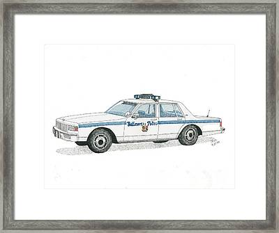 Baltimore City Police Vehicle Framed Print by Calvert Koerber