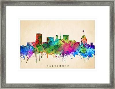 Baltimore Cityscape Framed Print